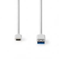 USB kabel | USB 3.2 Gen 2 | USB-A Zástrčka | USB Typ-C ™ Zástrčka | 10 Gbps | Poniklované | 1.00 m | Kulatý | PVC | Bílá | Box