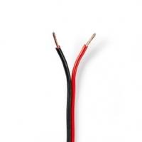 Repro kabel | 2x 1.50 mm² | CCA | 100.0 m | Kulatý | PVC | Černá / Červená | Zabaleno