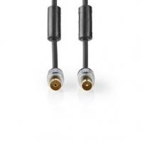 Koaxiální Kabel | IEC (Koax) Zástrčka | IEC (Koax) Zásuvka | Pozlacené | 75 Ohm | Dvojité Stínění | 2.50 m | Kulatý | PVC | Antr