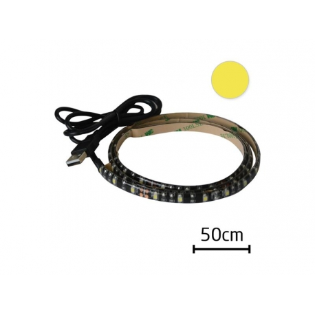 LED pásek s USB Geti GLS32W, 50 cm, teplá bílá