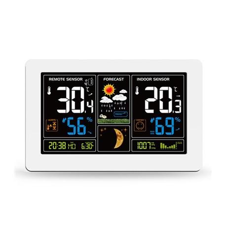 Meteostanice SOLIGHT TE81W extra velký barevný LCD, teplota, vlhkost, tlak, RCC, USb nabíjení, bílá