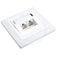 Zásuvka Solarix CAT5E UTP 2 x RJ45 pod omítku bílá SX9-2-5E-UTP-WH