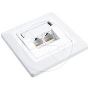 Zásuvka Solarix CAT6 UTP 2 x RJ45 pod omítku bílá SX9-2-6-UTP-WH