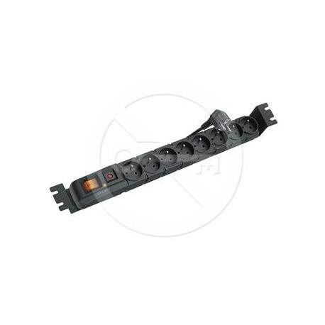 """Napajeci panel ACAR S8 FA 3m 8 pozic BK včetně držáků do 19"""" lišt 1U, ACAR-S8-FA"""