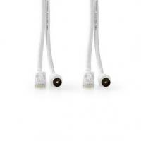 Přemluvit & Cat6 Combi Cable | IEC (Koax) Zástrčka / RJ45 | IEC (Koax) Zásuvka / RJ45 | Poniklované | RG58 | Dvojité Stínění | 5