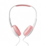 Drátová Sluchátka | 1,2 Kulatý Kabel | Na Uši | Růžová / Bílá