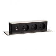Solight USB výsuvný blok zásuvek, 3 zásuvky, hliník + plast, obdélníkový tvar, prodlužovací přívod 1,9m, 3 x 1mm2, stříbrný