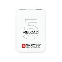 SKROSS powerbank Reload 5, 5000mAh, 2x 2A výstup, microUSB kabel, bílý