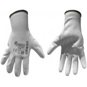 """Ochranné rukavice bílé z pletené bavlny, polomáčené v PU, velikost 9"""" GEKO"""