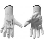 """Ochranné rukavice bílé z pletené bavlny, polomáčené v PU, velikost 10"""" GEKO"""