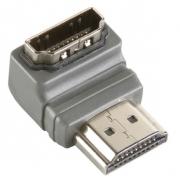 Adaptérem High Speed HDMI s Ethernetem Úhlový 90° HDMI Konektor - HDMI Zásuvka Šedá