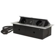 ORNO Výklopný blok zapuštěný, 2x 230V a 3x USB, stříbrný, bez kabelu