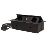 ORNO Výklopný blok zapuštěný, 2x 230V a 3x USB, černý, bez kabelu