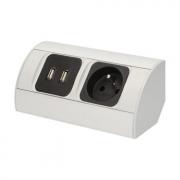ORNO Povrchová zásuvka, 1x 230V, 2x USB nabíjecí, barva stříbrná