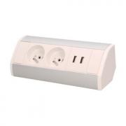 ORNO Povrchová zásuvka, rohové pouzdro, 2x 230V, 2x USB nabíjecí, barva bílo-stříbrná