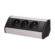 ORNO Povrchová zásuvka, rohové pouzdro, 3x zásuvka, barva černo-stříbrná