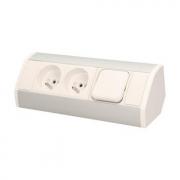ORNO Povrchová zásuvka, rohové pouzdro, 2x zásuvka s vypínačem, barva bílo-stříbrná