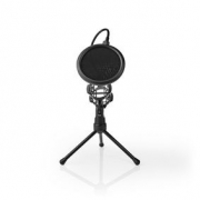 Stolní Stojan na Mikrofon se Třemi Nohami | Výklopný Filtr | Černý