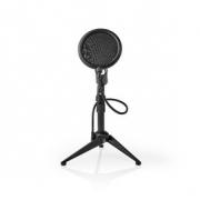 Stolní Stojan na Mikrofon se Třemi Nohami | Nastavitelná Výška | Výklopný Filtr | 2 Držáky Součástí Balení | Černý