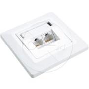 Solarix zásuvka  CAT5E UTP 2 x RJ45 pod omítku bílá SX9-2-5E-UTP-WH
