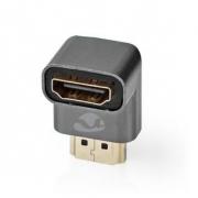 HDMI ™ Adapter | HDMI Zástrčka / Konektor HDMI ™ | HDMI Zásuvka / Výstup HDMI™ | Pozlacené | Úhlový 90° | Hliník | Šedá | 1 pc |