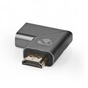 HDMI ™ Adapter | HDMI Zástrčka / Konektor HDMI ™ | HDMI Zásuvka / Výstup HDMI™ | Pozlacené | Úhlový Levý | Hliník | Šedá | 1 pc