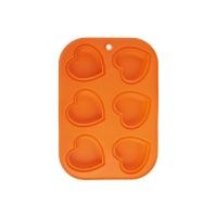 Forma na pečení ORION Muffiny Srdce 6 silikon oranžová