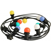 Venkovní světelný řetěz s barevnými žárovkami