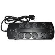 Přepěťová ochrana s 8 zásuvkami a 4 USB