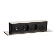 Solight USB výsuvný blok zásuvek, 2 zásuvky + HDMI + USB, hliník + plast, 3 x 1mm2, stříbrný