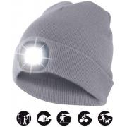 čepice CAP01 s LED světlem světle šedá