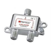 Rozbočovač OPTICUM 2xF HQ 5-2400 MHz, průchozí všemi směry