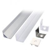 Solight hliníkový profil pro LED pásky rohový, 16x16mm, mléčný difuzor, 1m