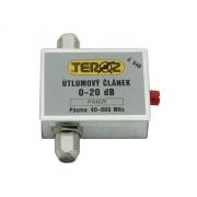 Anténní útlumový článek Teroz č.540 s regulací 0-20 dB pro UHF pásmo, F konektor