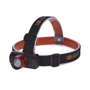 Solight LED čelová nabíjecí svítilna, 3W,150lm, zoom, Li-ion, USB