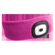 Čelenka s čelovkou 180lm, nabíjecí, USB, univerzální velikost, růžová SIXTOL