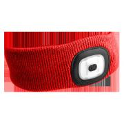 Čelenka s čelovkou 180lm, nabíjecí, USB, univerzální velikost, červená SIXTOL