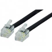Telefonní Kabel RJ10 (4P4C) Zástrčka - RJ10 (4P4C) Zástrčka Plochý 1.00 m Černá