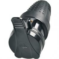 Solight zásuvka gumová, do vlhka, přímá, IP44, černá