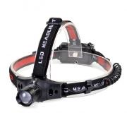 Solight čelová LED svítilna, 3W Cree LED, černočervená, 3 x AAA