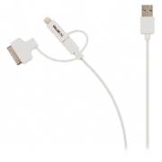 3 v 1 Synchronizační a Nabíjecí Kabel USB Micro B Zástrčka + Dokovací Adaptér + Adaptér Lightning - A Zástrčka 1.00 m Bílá