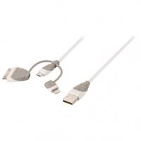 3 v 1 Synchronizační a Nabíjecí Kabel USB A Zástrčka - Micro B Zástrčka 1.00 m Bílá