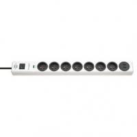 zásuvka prodloužení Hugo! 7cestný 2 m Bílá - CZ / 2x USB