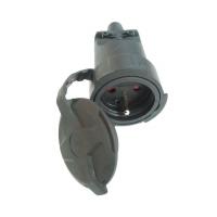 Solight zásuvka gumová, do vlhka a prachu, přímá, IP65, černá