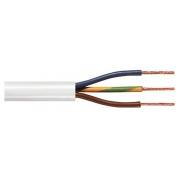 Napájací kábel s uzemnením, 3 x 0,75 mm², cievka, biely, 100 m