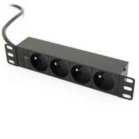 """10"""" Rozvodný panel 4x230V, 2m kabel, 1U černý"""